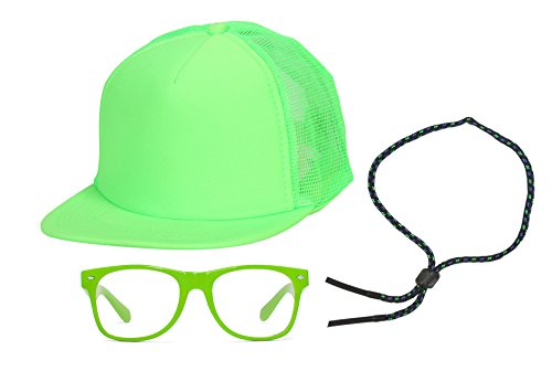 [90s Neon Kit Neon Green Trucker Hat, Sunglass Strap, Neon Green Clear Sunglasses] (Throwback Halloween Costumes)