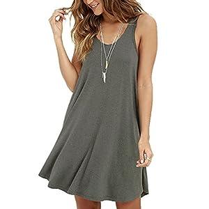 VIISHOW Women's Summer Sleeveless Casual Swing Simple T-Shirt Loose Dresses Beach Dress Cover Ups