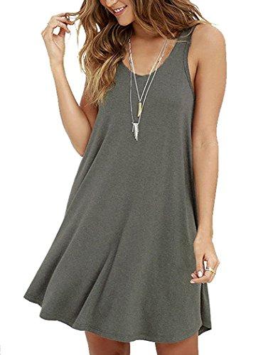 Viishow Summer Cotton T Shirt Dresses for Women Fashion Vest Tank Dress Casual Loose Plain Grey XL