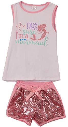 Toddler Girls 2 Pieces Short Set Mermaid Tank Tops Glitter Shorts Outfit Set Pink 2T XS (P202472P)