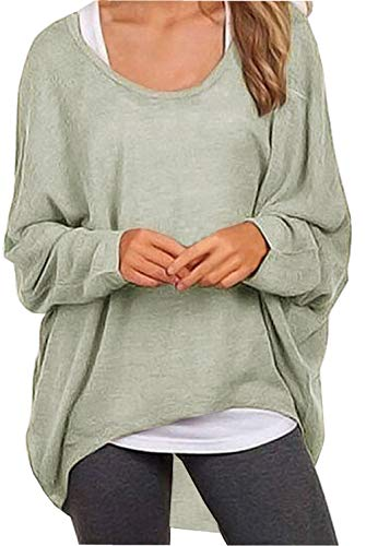 (UGET Women's Sweater Casual Oversized Baggy Off-Shoulder Shirts Batwing Sleeve Pullover Shirts Tops Asia XXL Gray)