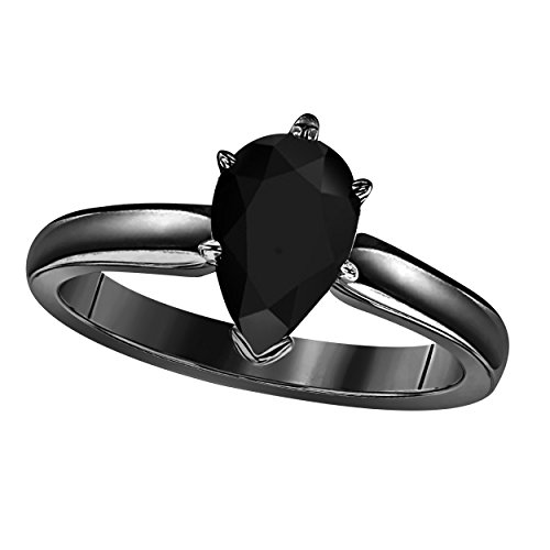 Gems and Jewels 14k Black Rhodium Plated Brass Pear Cut Created Black CZ Diamond CZ Solitaire Engagement Ring 1.75 Carat for Womens