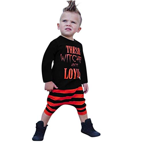 Halloween Costume Sets, Toddler Baby Boys Letter Handsome Tops T Shirts Striped Print Pants Casual Clothes 1-4 Years (Blcak, 6-12 Months)]()
