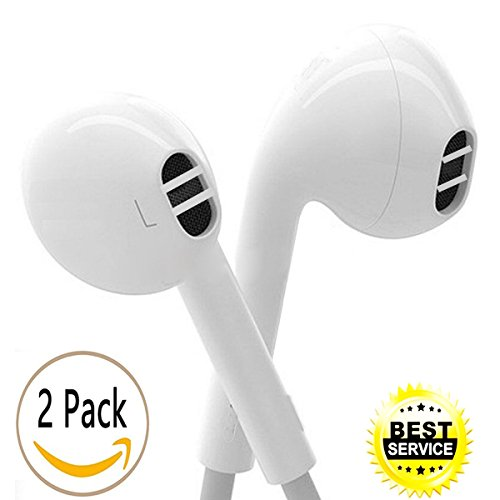 Earphones, Wemoo 2 Pack iPhone Earbuds With Microphone Headphones With Mic Earphones for apple iPhone 6s 6 Plus 5s 5 5c 4s 4 iPad 1 2 3 7 8 9 Earbuds Earphones Earpods. Iphone Earbud Headphones
