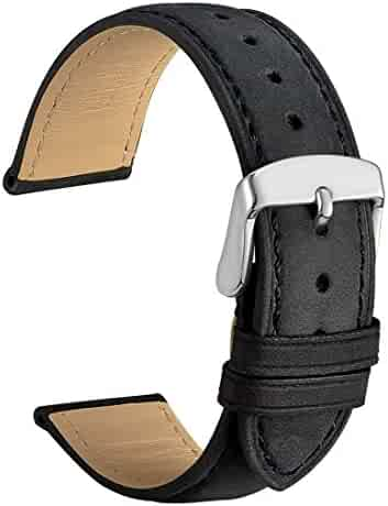 WOCCI 18mm Watch Band - Vintage Leather Watch Strap Black with Silver Buckle (Tone on Tone Stitching)