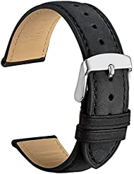 WOCCI 20mm Watch Band - Black Vintage Leather Watch Strap with Silver Buckle (Tone on Tone Stitching)