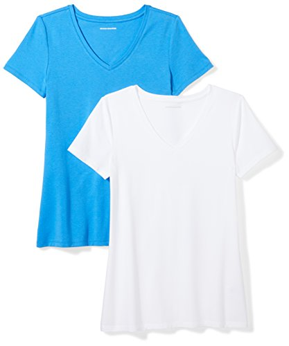 Cotton Blend Short Sleeve Shirt - Amazon Essentials Women's 2-Pack Classic-Fit Short-Sleeve V-Neck T-Shirt, Bright Blue/White, Large
