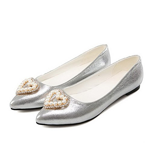 VogueZone009 Women's PU Solid Pull-On Pointed Closed Toe Low-Heels Flats-Shoes Silver lONIB8
