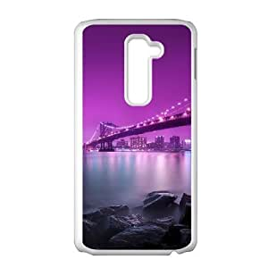 A lonely bench in Brooklyn Bridge LG G2 Cell Phone Case White S5570128