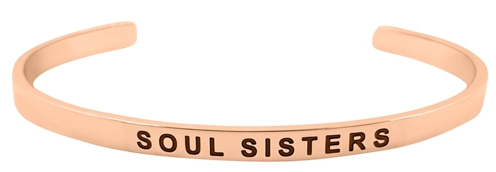 ''Soul Sisters Friends for Life'' Mantra Phrase Positive Message Cuff Bangle Bracelet - Jewelry Gifts for Women, Teen Girls, Best Friends (Rose Gold)