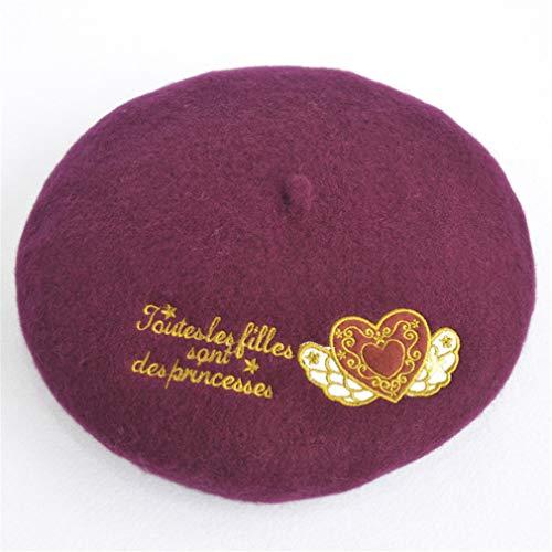 Australian Sweet Wine - Fashion 100% Wool Women Sweet Heart Print Beret Embroidery College Style Alice Designer Cap Hat New Butterfly Gift Beanie Beret H08 wine red heart