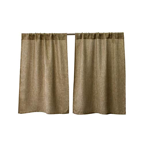 Valea Home Burlap Tier Curtains for Kitchen Rustic Tan Rod Pocket Curtains for Short Window 36 inch Linen Cafe Curtains, Set of 2