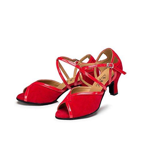 XUE Women's Latin Shoes/Ballroom Shoes Suede Heel Buckle Heel Dance Shoes Green Party & Evening (Color : B, Size : 36) C