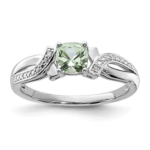 925 Sterling Silver Green Quartz Diamond Band Ring Size 7.00 Gemstone Fine Jewelry For Women Gift Set