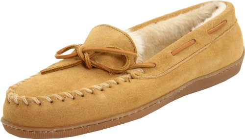 Minnetonka Women's Hardsole Pile Lined Slipper,Tan,9 M US