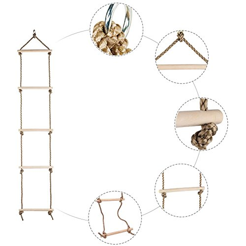 Feileng 5 Steps Climbing Wooden Rope Ladder for Kids Indoor Outdoor Playground by Feileng (Image #4)