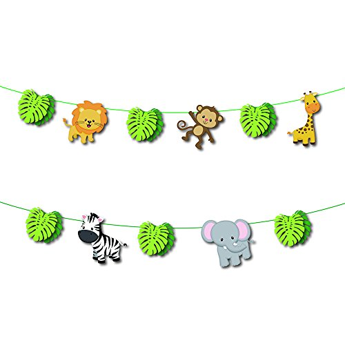 Boogaa Jungle Animals Banner,Animal Birthday Banne for Birthday Wedding Forest Theme Party Home Decoration]()