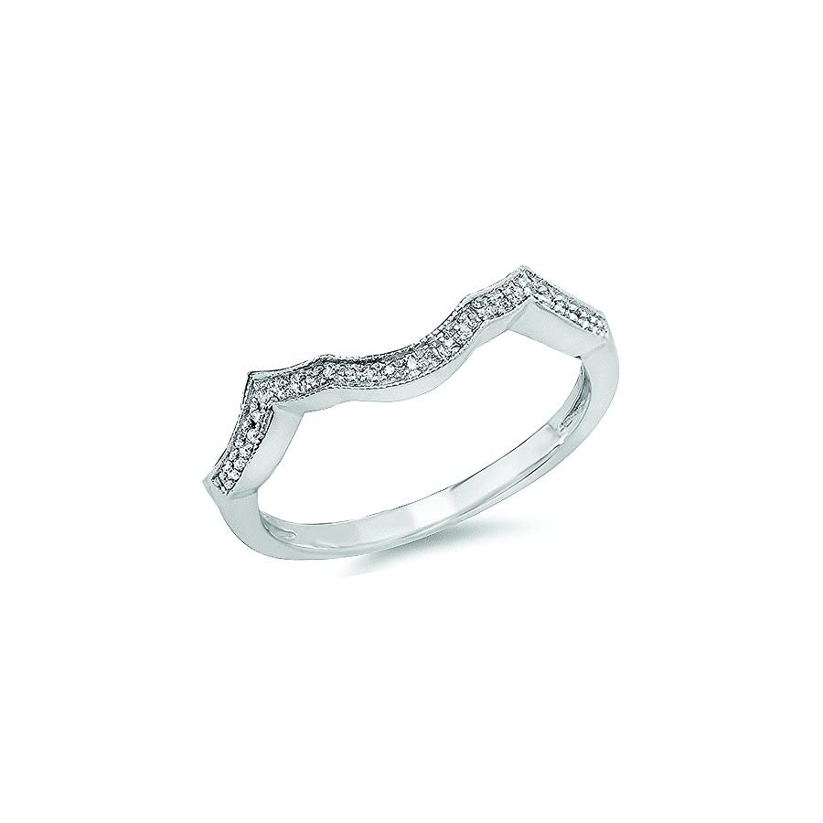 Dazzlingrock Collection 0.10 Carat (ctw) Sterling Silver Round Cut White Diamond Ladies Wedding Band Guard Ring 1/10 CT
