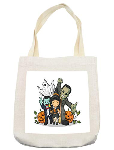 Lunarable Halloween Tote Bag, Cute Witch Vampire Frankenstein