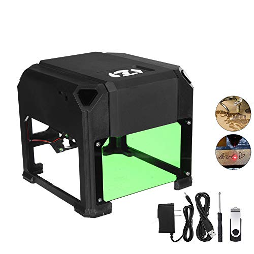 KINDAFLY 1500MW Desktop Laser Engraving Machine, Small DIY Logo Dog Tag Wood Engraving Marking Engraver US/CA/JP Plug for Plastic Leather Ring jewelry