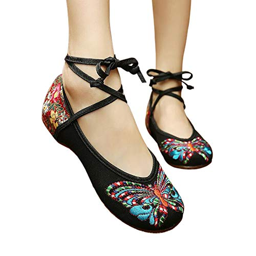CINAK Embroidered Chinese Style Loafers Shoes Butterfly Embroidery Ballet Round Toe Black Flats ()