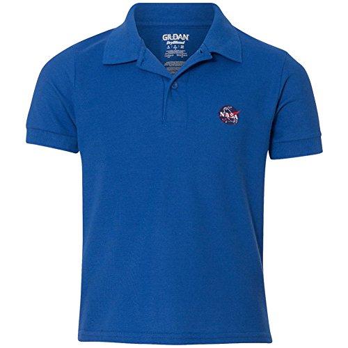 Gildan Embroidered Polo Shirt (Youth NASA Insignia Embroidered Double Pique Polo Shirt - Royal - XS)