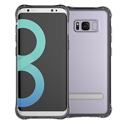 - Rugged Clear PC layer And Soft Case Cover With Stand Holder For Samsung Galaxy S8 ,Tuscom (Black)