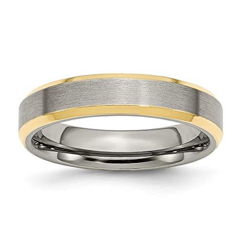 5mm S11 Wedding Bands Rings - Brushed Grey Titanium, 5mm Yellow IP Beveled Edge Band, Size 11