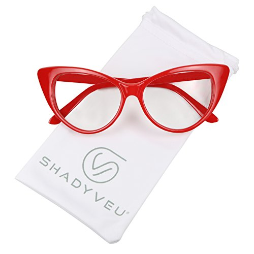 ShadyVEU - Super Cat Eye Vintage Inspired Fashion Mod Clear Lens Sunglasses (Red Frame, Clear Lens)