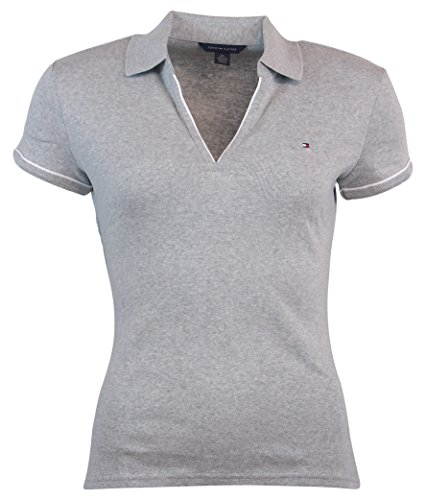 Tommy Hilfiger Womens Buttonless Logo Polo Shirt - XL - Gray