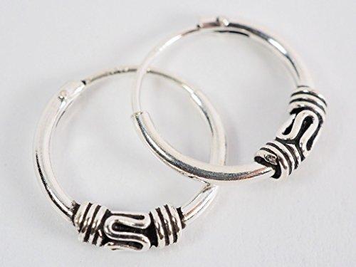 925 Silver Bali Tribal Fashion Earring Hoops Accesssories for Women / Men 1/2