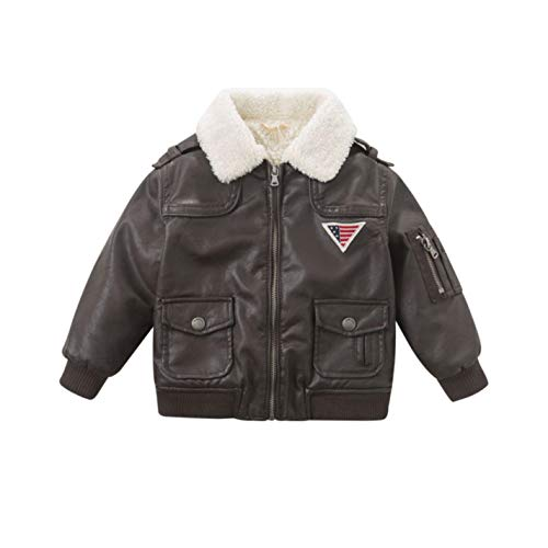 (LzCxZDKN Baby Boys Fashion PU Jackets Dark Brown Cool Coats Children Clothes)