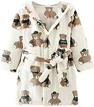 Happy Cherry Kids Cartoon Bathrobe Boys Flannel Hood Nightgown Girls Robes with Belt Lightweight Sleepwear for