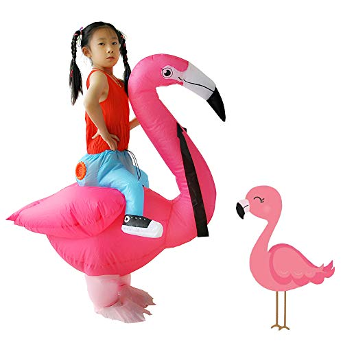 [Upgrade] Flamingo Costume Inflatable Fancy Jumpsuit Suit Carnival Costumes for Kids Children's Day Clothes (Flamingo Kids)