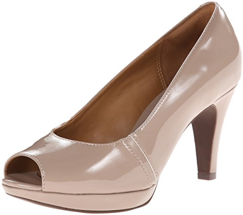 CLARKS Women's Narine Rowe Platform Pump, Taupe Synthetic Patent, 9.5 M US