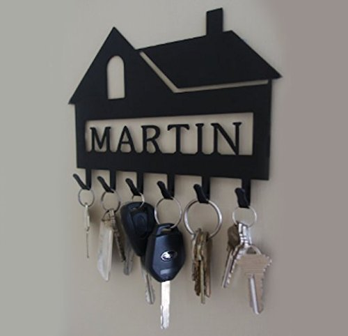 - Personalized House Key Hook (6 Hooks) - Handmade in America - Power Coated Steel with 20% Gloss Black Finish - Wall Mountable Key Rack - Organize Your Home & Car Keys in Style