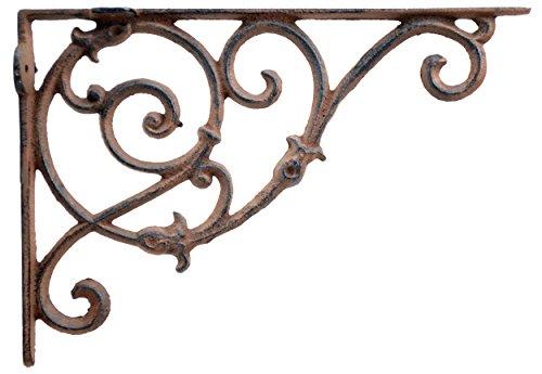 Decorative Wall Shelf Bracket Ornate Curly Floral Vine Brace Brown Cast Iron 10.75