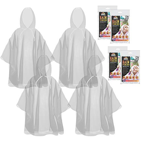 The Clean Explorer Disposable Rain Ponchos with Hood