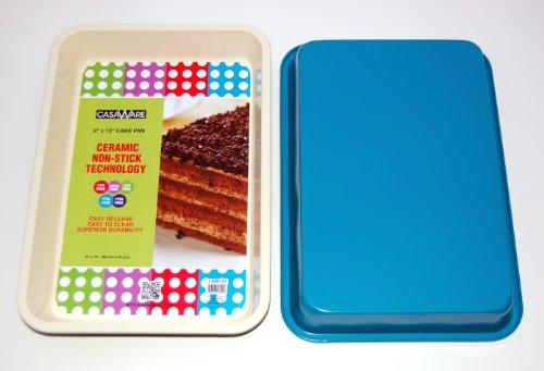 casaWare Ceramic Coated NonStick 9 X 13 x 2-Inch Rectangular Cake Pan (Cream/Blue) by casaWare