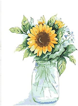 Paint by Numbers Kit Without Frame, 16x20 Inches LIUDAO DIY Oil Painting for Adult Yellow Sunflower Vase