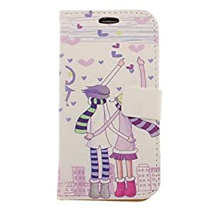 Cartoon Lovers Drawing Pattern Faux Leather Hard Plastic Cover Pouches for Samsung Galaxy S3 I9300