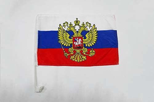 AZ FLAG Bandera de Coche de Rusia con Aguila 45x30cm - BANDERINA para Auto Rusa con Armas 30 x 45 cm: Amazon.es: Jardín