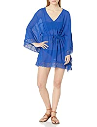 Women's V-Neck Butterfly Tunic Swimsuit Cover Up, Blueberry, S/M