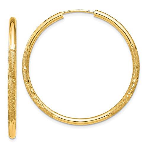 14K Yellow Gold Satin Diamond Cut 30mm Endless Hoop Earrings by Jewelry Pilot