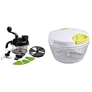 Wonderchef Turbo Dual Speed Food Processor, Black & String Plastic Chopper, White and Green Combo