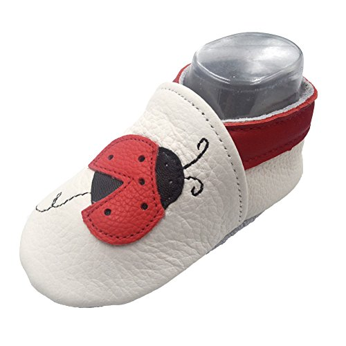 iEvolve Baby Shoes Ladybug Baby Toddler Soft Sole Prewalker Baby First Walking Shoes Crib Shoes Baby Moccasins(White Ladybug, 12-18 Months)