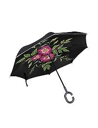 Inverted Reverse Umbrella Colorful Leaf Windproof Car Rain Outdoor