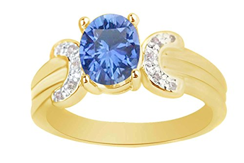 AFFY 6x8 mm Simulated Oval Blue Sapphire & Pink Tourmaline Solitaire Ring in 14k Yellow Gold Over Sterling Silver Ring Size - -