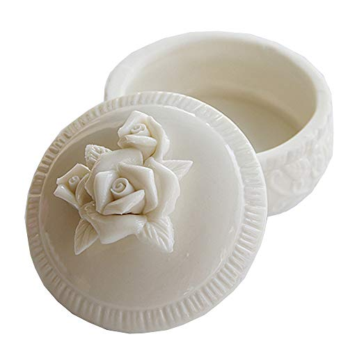 Retro Small White Ceramic Rose Decorative Jewelry Ring Box Makeup Desk Creative Wedding Candy Storage Box Container Collection Round Box Mini Jewelry Tray (Little Rose)