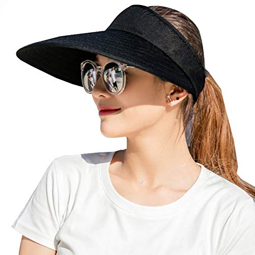 Sun Visor Hats Women Large Brim Summer UV Protection Beach Cap -